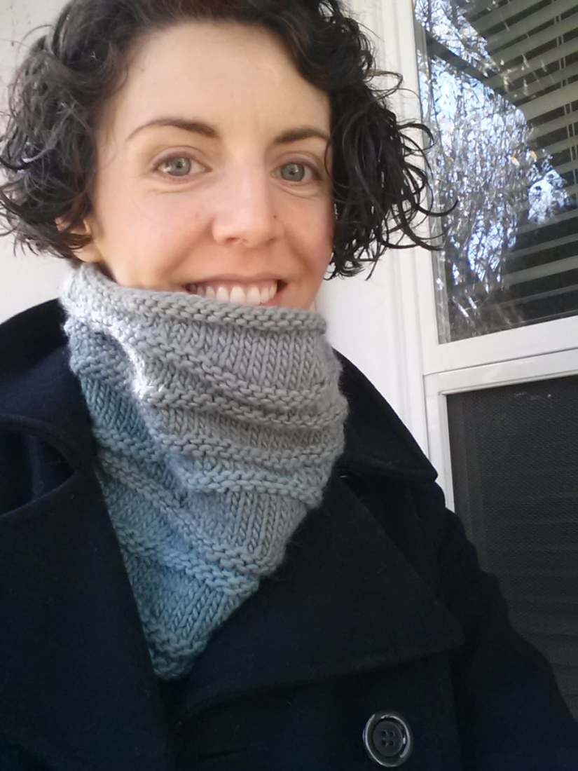 blue ombre waves knit cowl in 2014