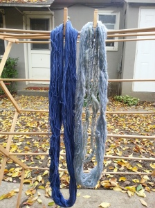 blue yarn from black bean dye