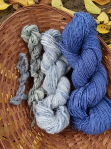 handspun blue yarn skeins