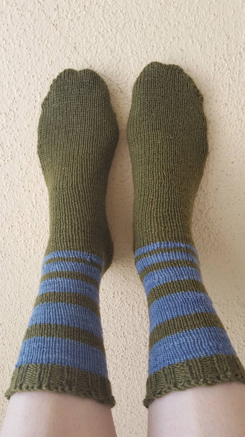 green and blue striped socks