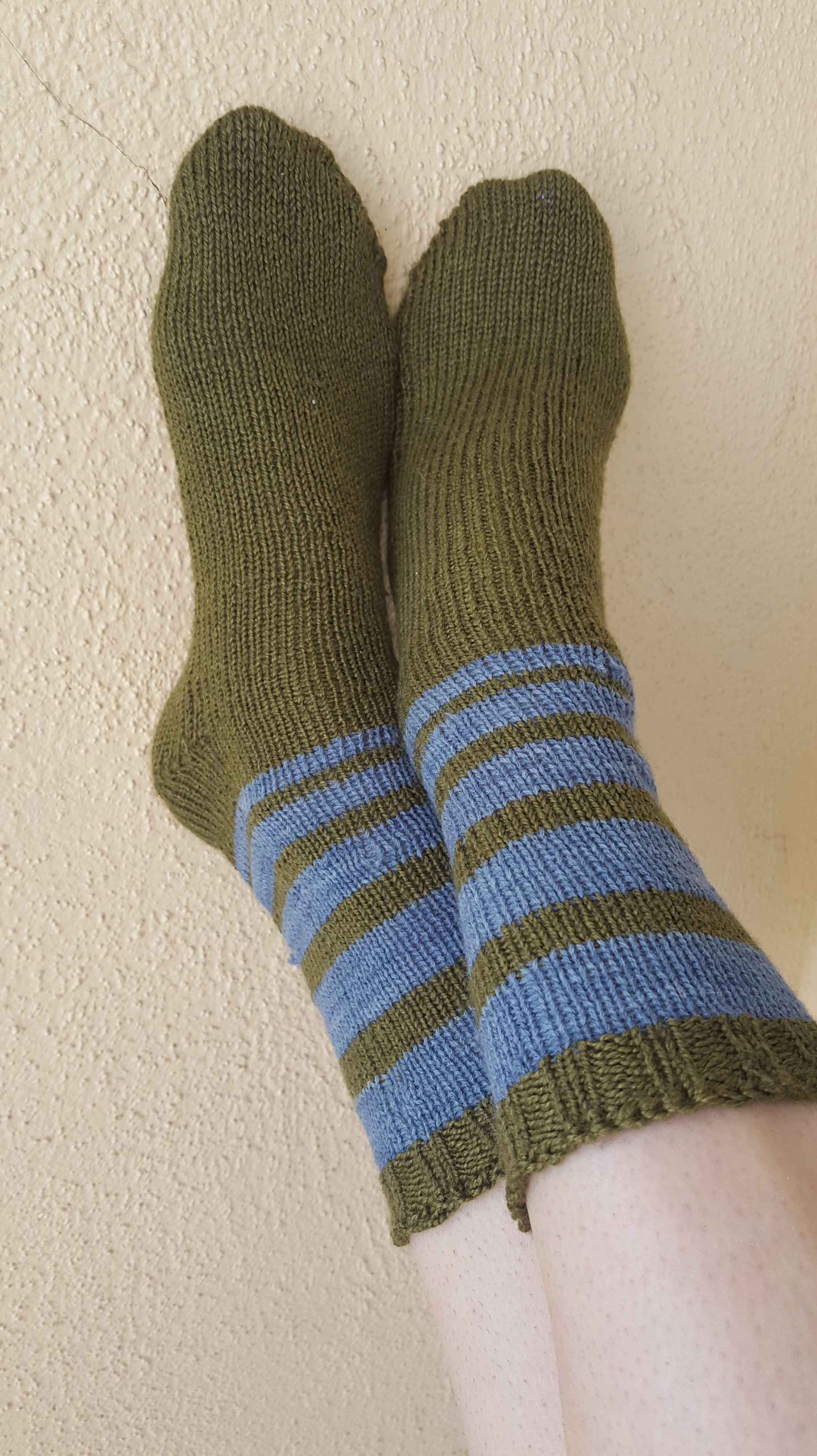 striped knit socks green and blue hand dyed